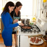 Lisa and Felicia Making Meatballs
